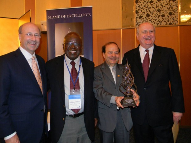 Dr. Ted Brown (President of IAMSCU until May 2014), Dr. Rokudzo Murapa (former president of IAMSCU), Dr. Almir de Souza Maia (honored) and Dr. Roger Ireson (former general secretary and former GBHEM President of IAMSCU)