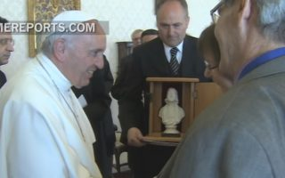 WMC Presents Pope Francis with Bust of John Wesley