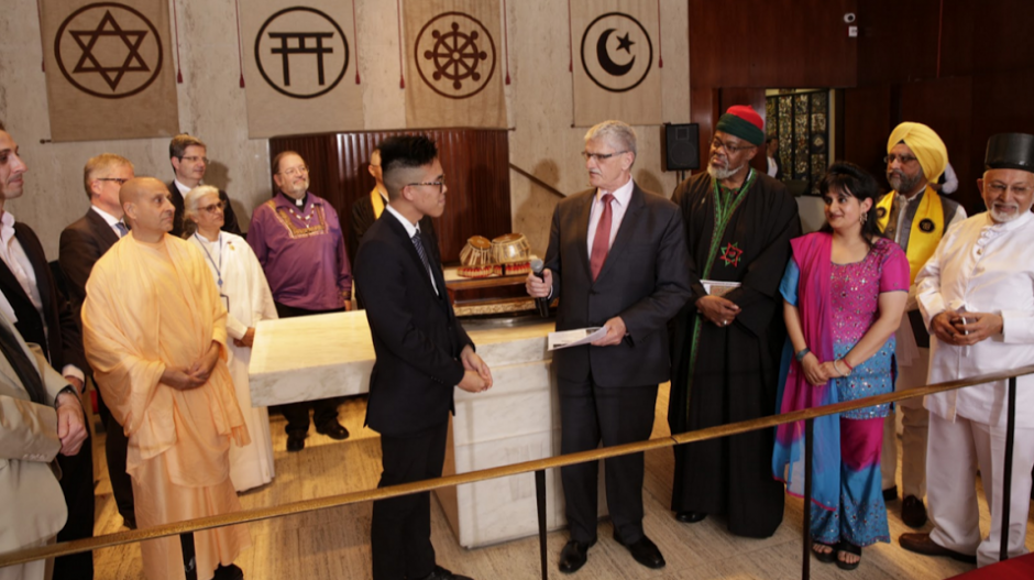 Interfaith Climate Change Statement to World Leaders was handed over by a young faith leader, surrounded by faith leaders to H.E. Mogens Lykketoft, President of the UN General Assembly at the UN Church Centre, April 18th 2016. Credit. Paul Hunt/ WCC
