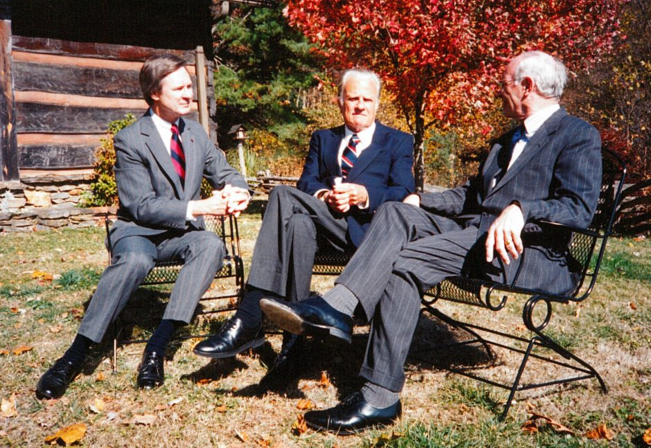 Joe Hale (left) at a meeting with Rev. Billy Graham (center) and Rev. Dr. Donald English (former WMC President)