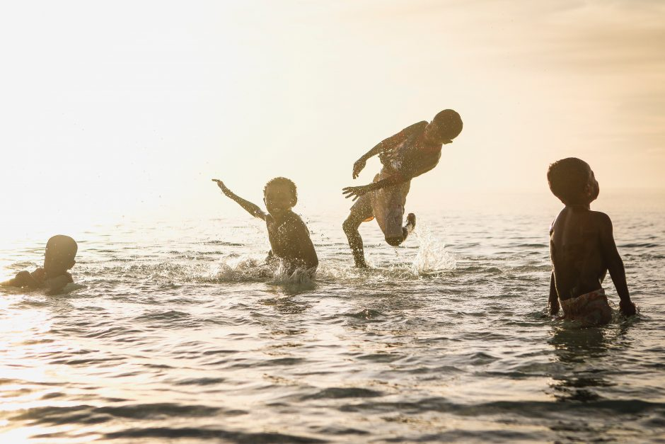 Children playing and splashing in water